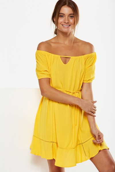 Woven Jenny Off The Shoulder Mini Dress, SUNFLOWER