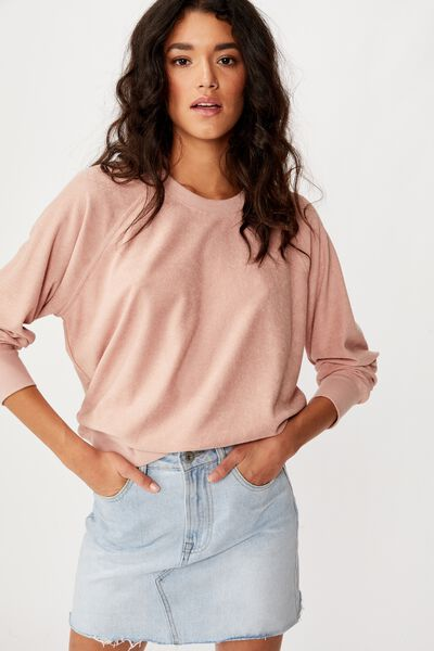 Taylah Terry Crew Neck Pullover, MISTY ROSE