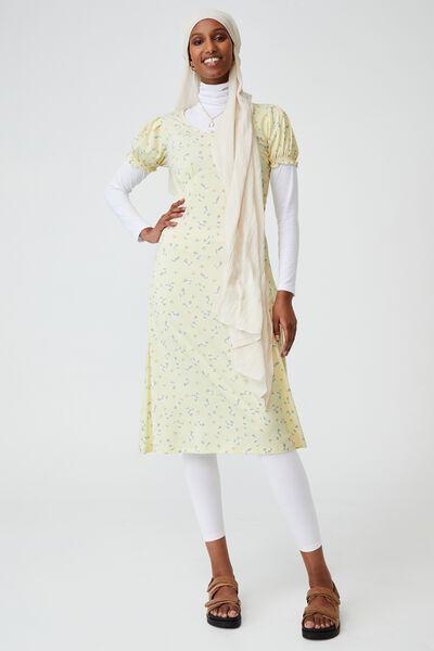 Elina Short Sleeve Midi Dress, RIDDLE DITSY LEMON