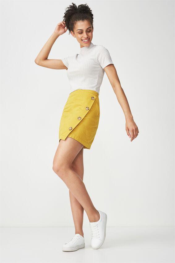 Woven Lulu Mini Skirt, GOLDEN PALM