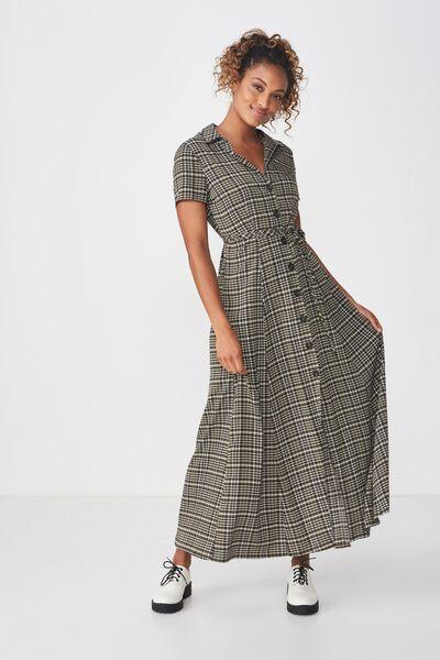 Woven Bernie Button Through Maxi Dress, NYLA CHECK KHAKI