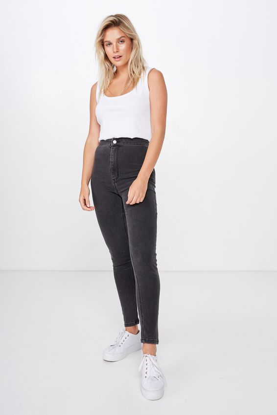 Ultra High Super Stretch Jean, WASHED BLACK