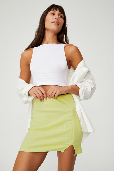 Streamline Ribbed Mini Skirt, WASABI