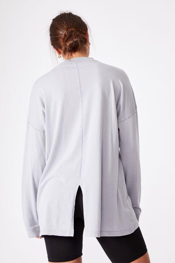 90S Longline Drop Shoulder Long Sleeve Top, WASHED TRADEWINDS