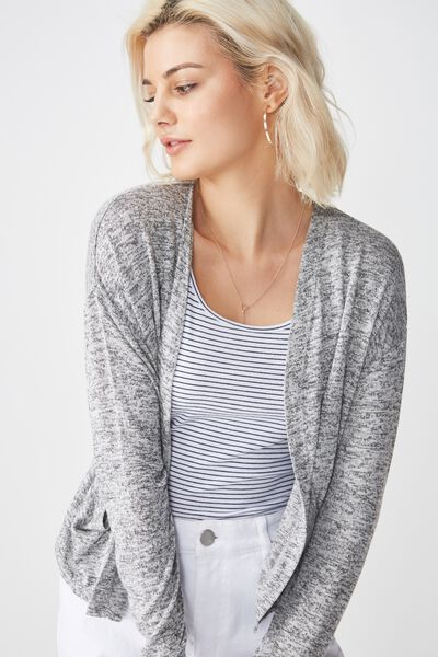 Ot Sammy Short Cardigan, GREYS TWIST