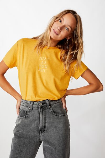 Classic Slogan T Shirt, JUST AS YOU ARE/HONEY GOLD