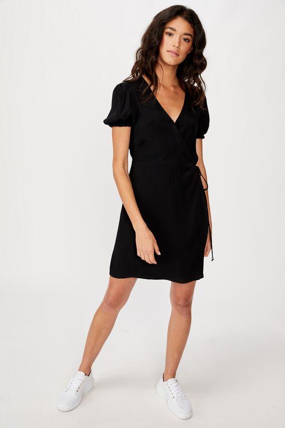 Woven Amy Wrap Mini Dress, BLACK