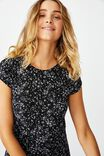 Elsa Short Sleeve Split Front Midi Dress, PENNY DITSY BLACK