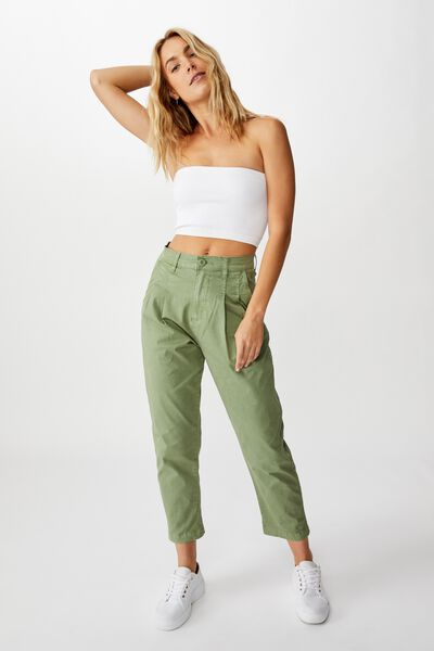 Brooke Pleated Pant, OIL GREEN