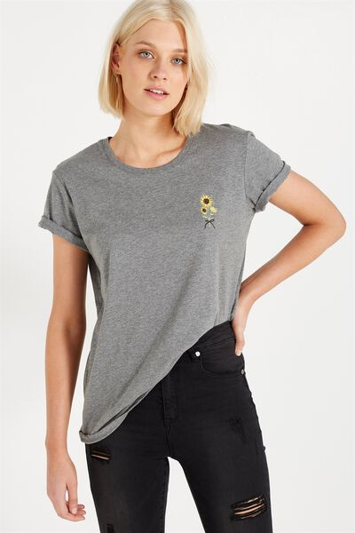 Tbar Fox Graphic T Shirt, SUNFLOWER/CHARCOAL MARLE