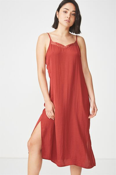 Woven Audrey Lace Midi Slip Dress, ROSEWOOD