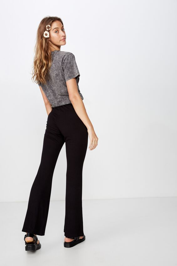 Casey Jersey Flare Pant, BLACK