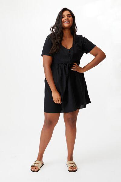 Curve Mini Button Up Beach Dress, BLACK