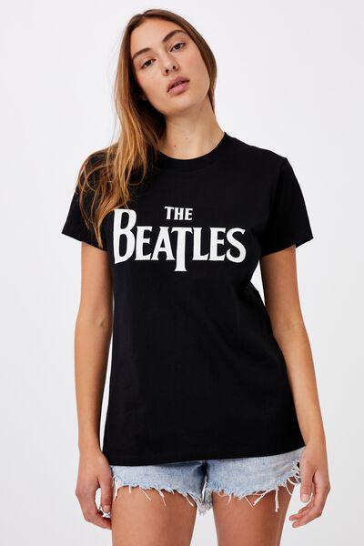 Classic Beatles Logo T Shirt, LCN APP BEATLES LOGO/SILVER MARLE