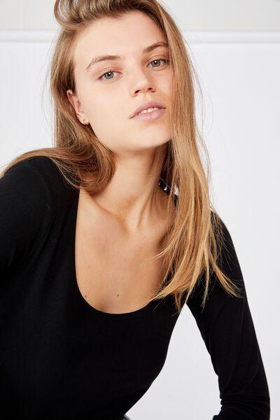 Everyday Long Sleeve Scoop Neck Top, BLACK