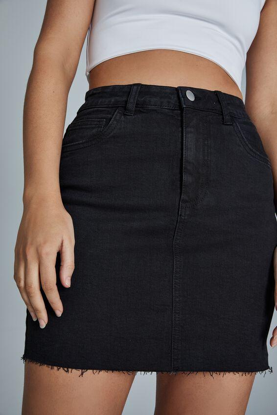 Classic Stretch Denim Mini Skirt, MIDNIGHT BLACK