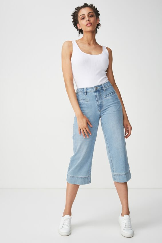 Mid Rise Wide Leg Crop Jean, MID BLUE RETRO WELT POCKET