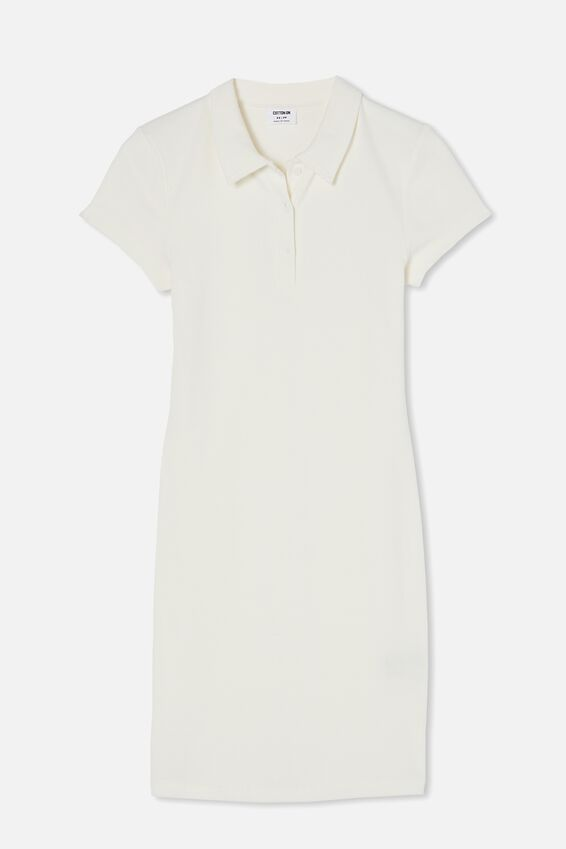 Riley Short Sleeve Polo Mini Dress, WHITE