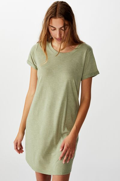 Tina Tshirt Dress 2, OIL GREEN MARLE