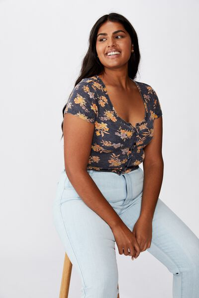 Curve Lola Waffle Button Through Tee, HANNAH FLORAL GRAPHITE