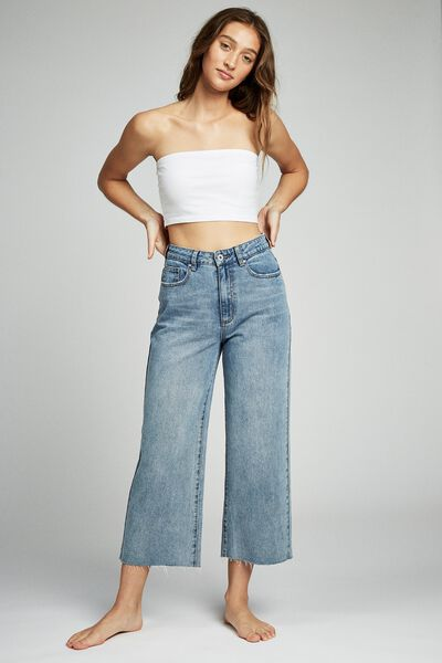 Wide Leg Cropped Jean, BOSTON BLUE