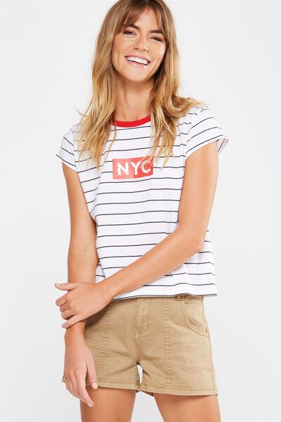 Tbar Friends Graphic Tee, NOT YOUR CITY EBONY STRIPE/WHITE