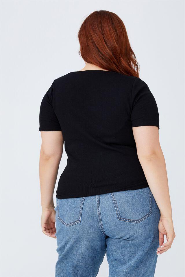 Curve Sweetheart Short Sleeve Top, BLACK