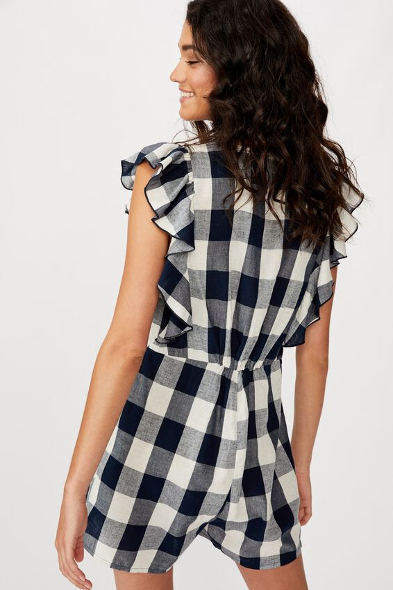 Woven Claire Short Sleeve Playsuit, BETHY GINGHAM TOTAL ECLIPSE
