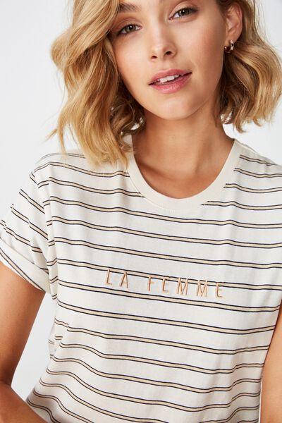 Classic Slogan T Shirt, LA FEMME EGGNOG/HONEY PEACH STRIPE