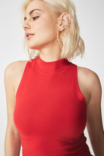 Maxine Sleeveless Mock Neck Tank, CHILLI RED