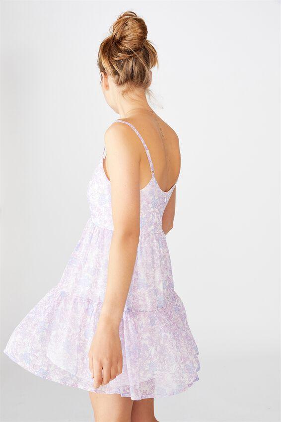Woven Jordy Ruffle Mini Dress, JULIA FLORAL LILAC