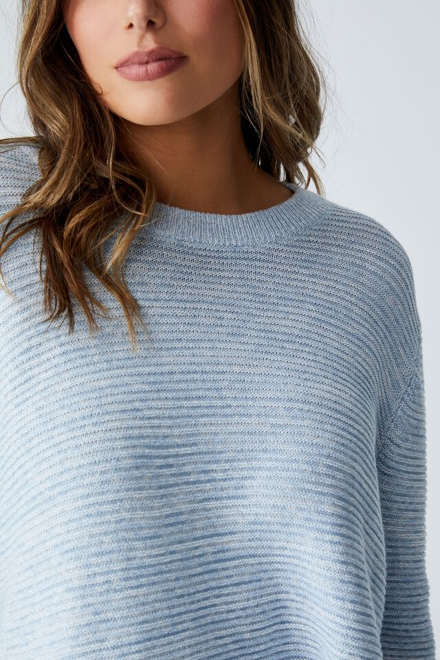 Cotton Cropped Pullover, NEW WAVE BLUE/WHITE TWIST