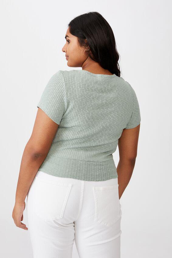 Curve Tonya V Cross Over Short Sleeve Top, LUSH GREEN