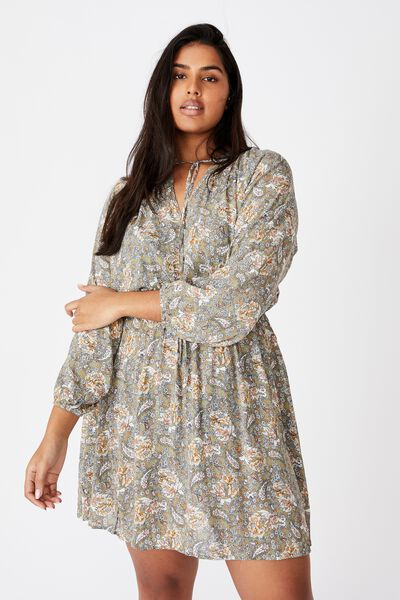 Curve Laura Mini Dress, EMILY FLORAL PAISLEY OIL GREEN