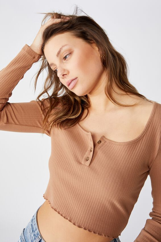 Bella Henley Long Sleeve Top, HERITAGE BROWN