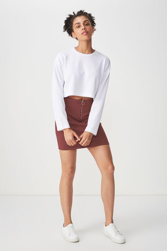 Gwen Zip Mini Skirt, RENE SPOT ROSEWOOD