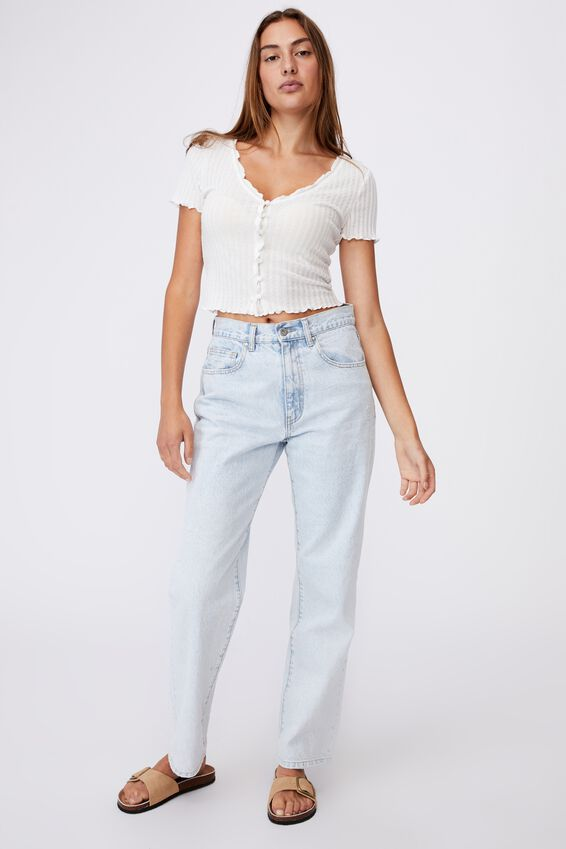 Avery Short Sleeve Frill Cardi, WHITE