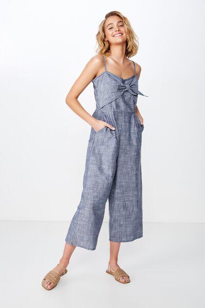Woven Tabatha Tie Front Culotte Jumpsuit, CROSS HATCH NAVY