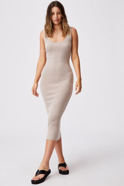 Annie Strappy True Knit Midi Dress, SILVER STONE