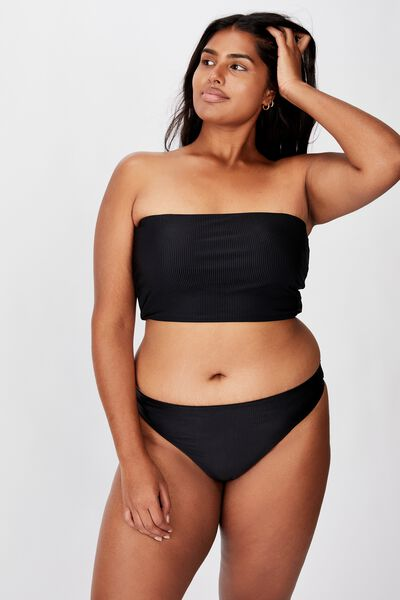 Curve High Side Brazilian Bikini Bottom, BLACK RIB