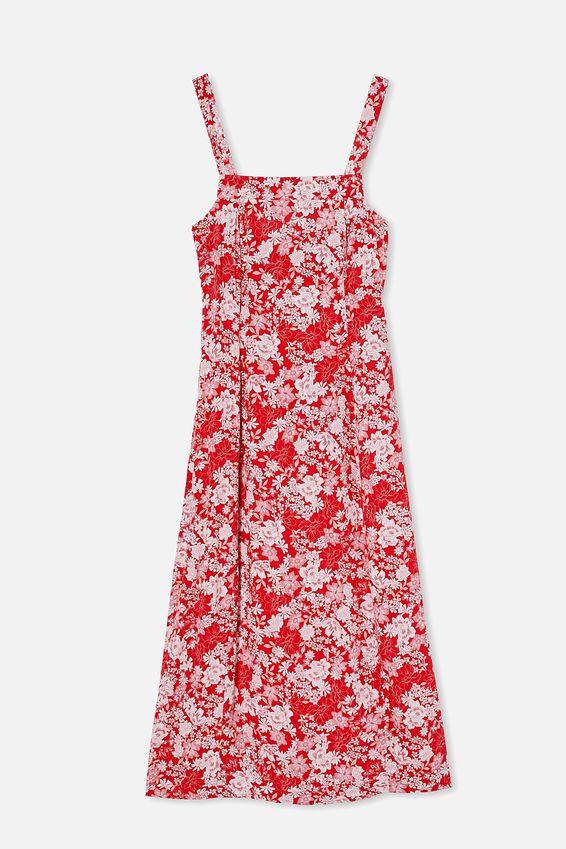 Woven Millie Tie Back Midi Dress, JULIA FLORAL GOJI BERRY