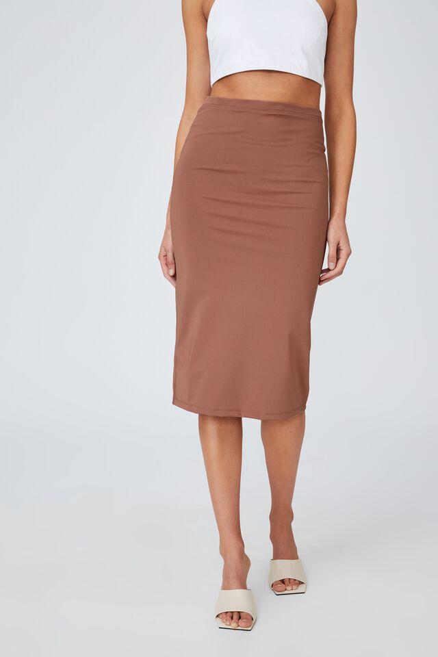 Day To Night Tube Midi Skirt, COCOA BEAN