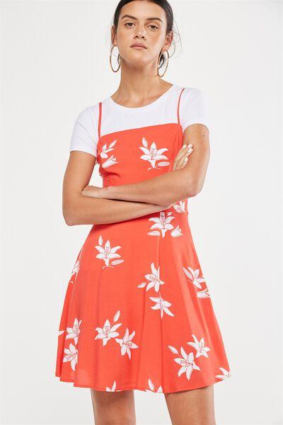 Woven Krissy Dress, STRAIGHT NECK JACINTA FLORAL BITTERSWEET