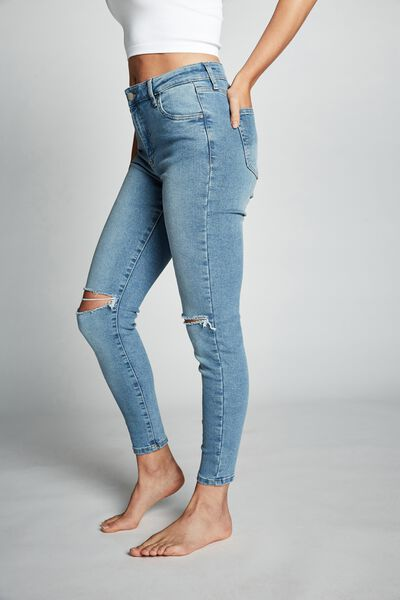 Mid Rise Cropped Skinny Jean, VENICE BLUE RIPS
