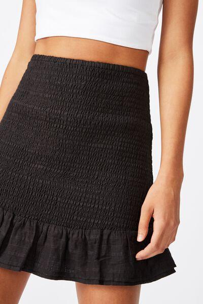 Shirred Mini Skirt, BLACK
