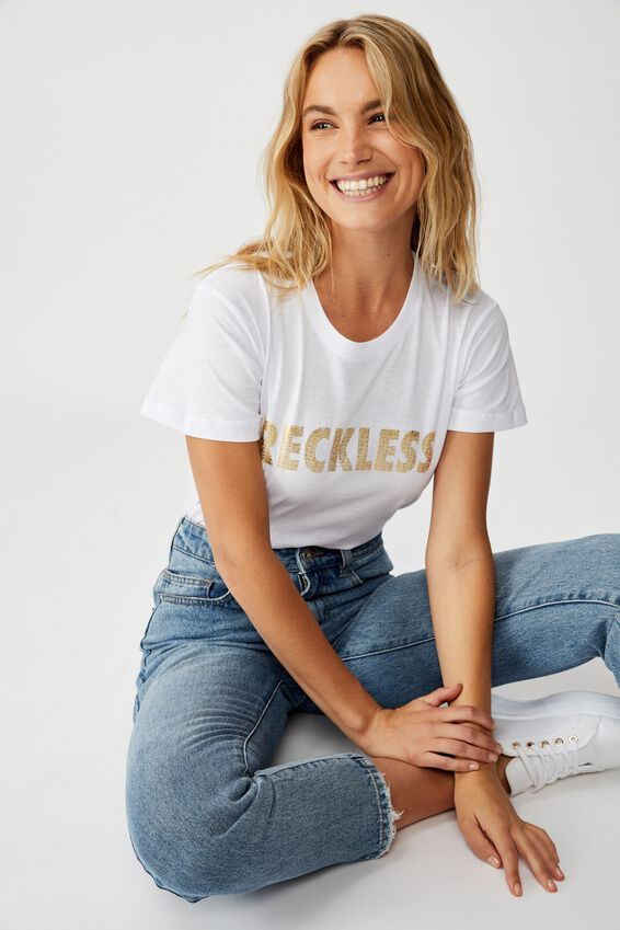 Classic Slogan T Shirt, RECKLESS/WHITE