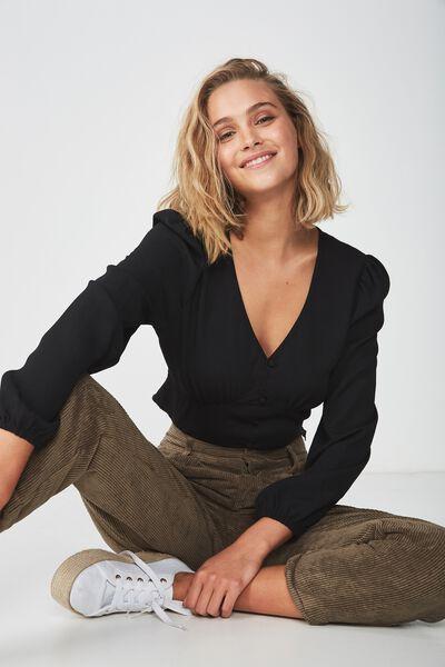 Maddie Button Up Blouse, BLACK