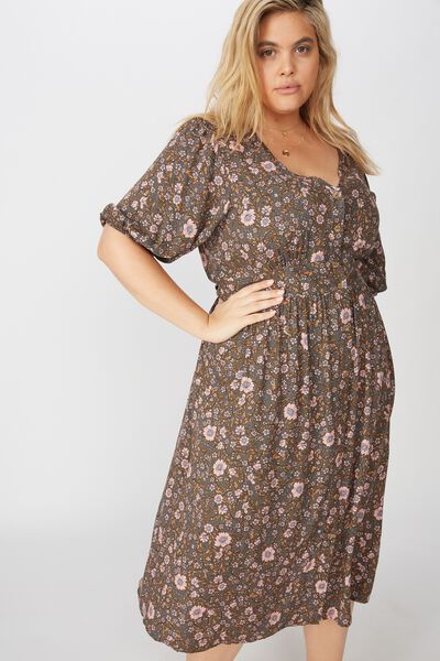 Curve Woven Chloe Puff Sleeve Midi Dress, JORDYN FLORAL RAVEN