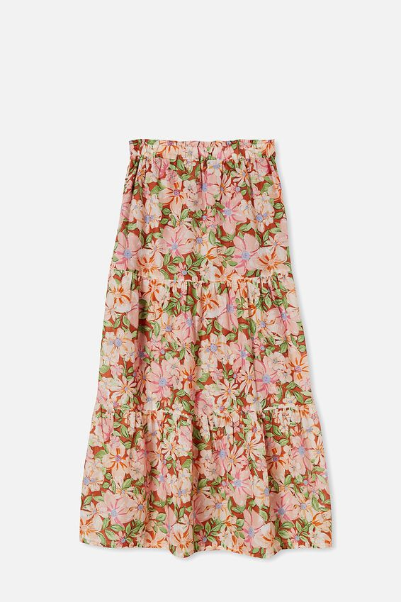 Float On Maxi Skirt, SHARNA FLORAL WARM BRONZE