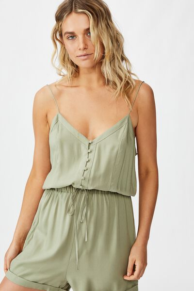 Woven Nina Strappy Playsuit, TEA